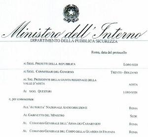 Circolare Ministero dell'Interno