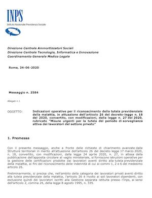 Linee guida INPS gestione certificati malattia covid-19